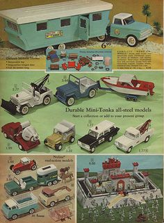 Toy Trucks in J.C. Penney\'s Christmas Catalog, 1966, by Wishbook, via Flickr.  I had the Tonk cement mixer, Jeep & wrecker shown here at center.