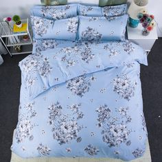 >> Click to Buy << spring lily flower bedding bed sets queen king twin bedsheet bedspreads bright blue comforter duvet cover kids 4/5pc #Affiliate