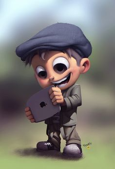 Character concept by ~renecordova This boy is fascinated by modern tech Baby Cartoon Drawing, Cute Cartoon Boy, Cute Cartoon Pictures, Cartoon Pics, Cartoon Drawings, Cartoon Art, Boy Cartoon Characters, Character Design Cartoon, Kid Character