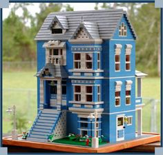 Image detail for -Blue Victorian Doll House