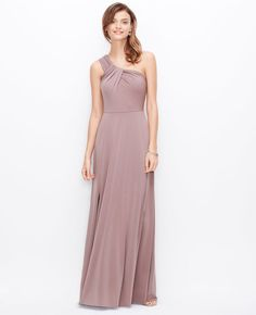 Petite One Shoulder Jersey Gown