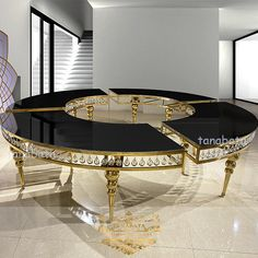 Wedding Furniture Stainless Steel Frame Half Moon Black Glass Top With Crystal Dining Table - Buy Black Glass Table,Black Glass Dining Table,Half Moon Black Glass Table Product on Alibaba.com Black Glass Dining Table, Glass Table, Dining Room Furniture, Home Furniture, Stainless Steel Table, Wedding Furniture, Center Table, Steel Frame, Deco