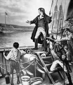 Attorney Francis Scott Key witnessed the twenty-five hour bombardment of Fort McHenry from a British troopship anchored some four miles away. He had boarded the ship to negotiate the release of an American civilian imprisoned by the British, and had been detained aboard as the bombardment began. On September 14, 1814, as the dawn's early light revealed a flag flying over the fort, Key exultantly began jotting down the lines of the song that became our national anthem.
