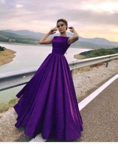 Prom dress, Opening Back Prom Dresses Long 2018 Puffy Purple Satin Lovely Ball Gowns Concise Cap Sleeves Evening Party Dress Fast Shipping