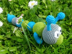 Crochet toy rattle Baby Toy Rattle Worm Crocheted by MioLBoutique