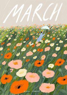 March by Oamul Lu Art And Illustration, Illustrations And Posters, Posca Art, Grafik Design, Pattern Art, Cute Art, Art Inspo, Art Drawings, Art Projects