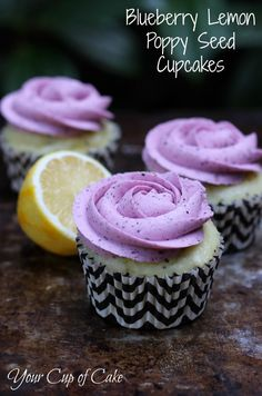 Blueberry Lemon Poppy Seed Cupcake~recipe    Made this for my family and it was a huge hit! Used frozen blueberries and they worked fine. It's sort of messy though.