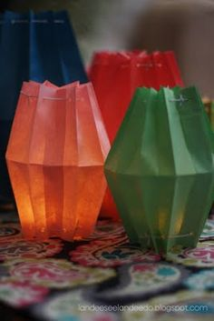 make paper lanterns out of bag, fill with tealight/battery operate tea light