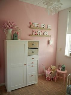 babykamer met kleuren oud roze / grijs / wit en goud. tekstslinger, Deco ideeën