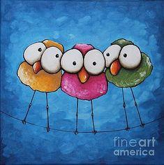 (via Original Fine Art Acrylic painting Lucia Stewart Whimsical bird three sisters Art Fantaisiste, Whimsical Art, Bird Art, Painting Inspiration, Painting & Drawing, Dot Painting, Art Lessons, Painted Rocks, Watercolor Paintings