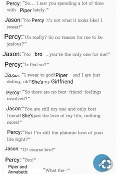 I think a lot of people forget that Grover is Percy's best friend but this was funny so im still pinning it Percy Jackson Head Canon, Percy Jackson Ships, Percy Jackson Quotes, Percy Jackson Fan Art, Percy Jackson Books, Percy Jackson Fandom, Percabeth, Solangelo, Magnus Chase