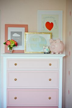 Project Nursery - Pink Ombre Dresser - Project Nursery. I would love to paint a dresser like this.
