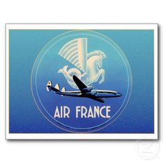 Vintage luggage label from Air France, featuring a Connie and a wonderful stylized creature that seems to be half horse, half bird, and half fish for no adequately explored reason. Vintage Luggage, Vintage Travel Posters, Voyage Air France, Airline Logo, France Art, Art Vintage, Typography Love, Luggage Labels, Vintage Labels