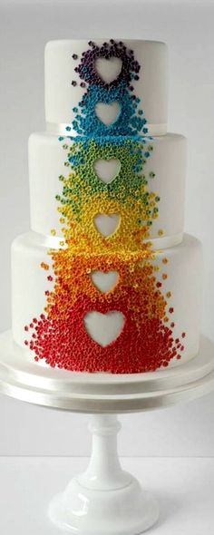 White Rainbow Cascade Cake #weddingcakes