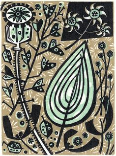 Angie Lewin is a lino print artist, wood engraver, screen printer and painter depicting the UK's natural flora in linocut and other limited edition prints. Angie Lewin, A Level Art, Mid Century Art, Wood Engraving, Art Lessons, Printmaking, Illustrators, Screen Printing, Illustration Art