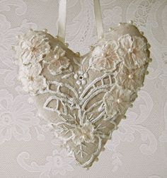 Vintage linen hanging heart by moonmommas on Etsy, $32.00