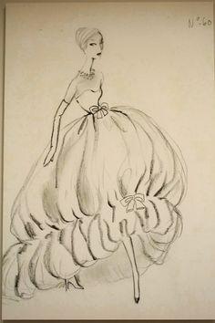 hautekills: Sketch by Cristobal Balenciaga, 1956 http://www.pinterest.com/adisavoiaditrev/