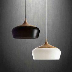 Moderne pendentif en bois clair lampe en aluminium noir / blanc restaurant bar café salle à manger LED suspension luminaire décoration dans Éclairage suspendu de Lumière et éclairage sur AliExpress.com   Alibaba Group
