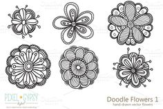 Check out Doodle Flowers 1 Vector by Pixel Gypsy Digital on Creative Market