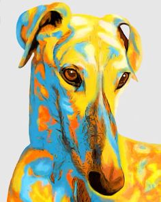Greyhound dog pop art art painting copic ink by AnimalArtIncognito Animal Paintings, Animal Drawings, Pop Art Paintings, Greyhound Kunst, Dog Pop Art, Dog Artwork, Grey Hound Dog, Dog Portraits, Cat Art