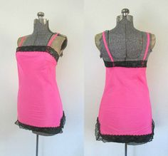 1960s Mod Full Mini Slip Hot Pink Black Lace by rileybellavintage, $24.00