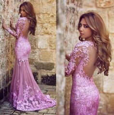 Gorgeous Long Sleeves Mermaid Long Prom Dress with Lace Long Prom Dress Formal Evening Dress Lace Prom Dresses by DRESS, $169.00 USD
