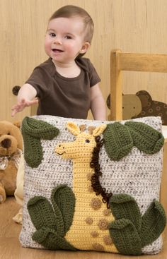 Here's the perfect pillow for the jungle themed nursery or child's room! Crocheted with washable yarn, this pillow will last through years of play. Giraffe Pillow