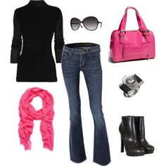 Simple, easy clothing with a nice pop of color. The hot pink bag is a bit much for me but still very cute.