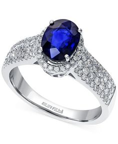 EFFY Sapphire (1-3/8 ct. t.w.) and Diamond (5/8 ct. t.w.) Ring in 14k White Gold - Rings - Jewelry & Watches - Macy's