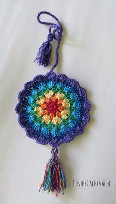 Adorno Colgante Mandala 7 Chakras - Tejido Al Crochet - $ 70,00 en MercadoLibre