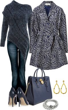 Gray and black not fond of the coat and purse but love the rest
