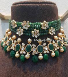 Bridal jewelry collection - Emerald Choker by Kanodia Jewellers – Bridal jewelry collection Bead Jewellery, Beaded Jewelry, Beaded Necklace, Jewellery Designs, Pearl Jewelry, Necklace Set, Kerala Jewellery, Pakistani Jewelry, Bold Necklace