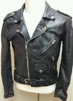 Mens FIRST Genuine Black Leather Greaser Motorcycle Biker Jacket SZ 40 Medium in Clothing, Shoes & Accessories | eBay