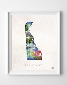 Delaware Poster Watercolor Map Home Town art USA by InkistPrints, $11.95 - Shipping Worldwide! [Click Photo for Details]