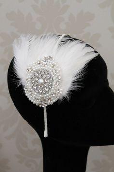 Handmade feather headdress wedding headpiece vintage style 1920s flapper style black. £89.00, via Etsy.