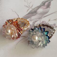 Dragon® Scale Czech Beads Flower Ring