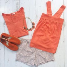 Summer total look ☀ ORANGE ☀ Top ref. 1-4-26-00-97-866 Short ref. 1-4-23-01-90-555 Espadrille ref. 1-4-29-02-51-866 #PromodBoutiqueFrançaise #SS2016 #NewIn