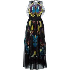 Mary Katrantzou 'Monroe' dress (£2,255) ❤ liked on Polyvore featuring dresses, black, sleeveless dress, back zipper dress, moth dress, monarch butterfly dress and round neck sleeveless dress