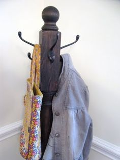 A homemade coat rack. Definitely going to try this. We need one, and this seems so easy and much cheaper.
