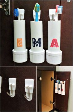 PVC Pipe Organizing and Storage Ideas Here are an creative PVC pipe storage. PVC Pipe Organizing and Storage Ideas Here are an creative PVC pipe storage inspiration for yo Bathroom Closet Organization, Bathroom Hacks, Garage Organization, Bathroom Storage, Hall Bathroom, Bathroom Makeovers, Organization Ideas, Bathroom Ideas, Pvc Pipe Storage