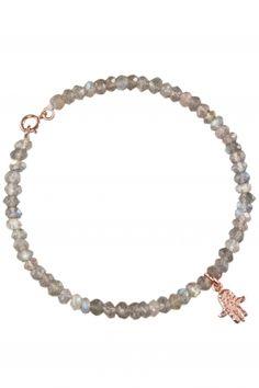 hamsa bracelet 2 MICRON rose plated sterling silver, labradorite Hamsa, Labradorite, Plating, Fashion Jewelry, Beaded Bracelets, Sterling Silver, Rose, Rhinestones, Wristlets