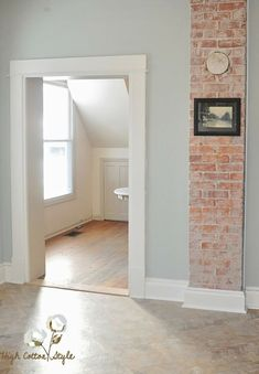 Exposed Brick Bathroom – Wall Small Chimney Toilets Subway Tiles Sinks Living Ro… - Home Accents living room Interior Paint Colors, Paint Colors For Home, House Colors, Paint Colours, Indoor Paint Colors, Trim Paint Color, Brick Bathroom, Bathroom Wall, Bathroom Toilets
