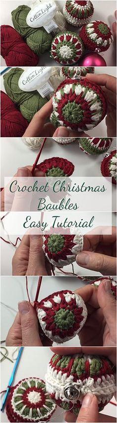 Crochet Christmas Baubles Easy Tutorial