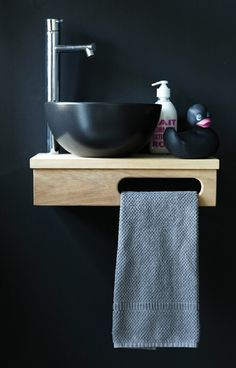 Artline teak shelf with Spot basin, great space saver!