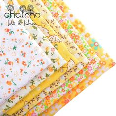 Thin Cotton Fabric Patchwork For Sewing Scrapbook Cloth Fat Quarters Tissue For Quilting Needlework Pattern 50*50cm Yellow 6pcs