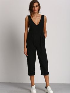Black Deep V Neck Jumpsuit -SheIn(Sheinside)