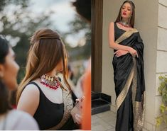 7 Easy-Peasy Bridal/ Bridesmaids Hairstyles You Need To Save Right Now WedBo Indian Gowns Dresses, Indian Fashion Dresses, Dress Indian Style, Indian Designer Outfits, Saree Designs Party Wear, Saree Blouse Designs, Sari Blouse, Bow Blouse, Indian Bridal Outfits