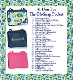31 Uses for the Oh-Snap Pocket! www.mythirtyone.com/traceyattard