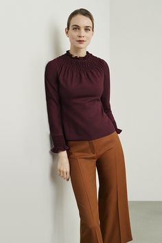 The Highfield top is a standout piece, beautifully tailored from Italian wool crepe for a sleek. Librarian Chic, Brown Pants, Work Attire, Outfit Sets, Plum, Dress Up, Normcore, Neckline, Feminine