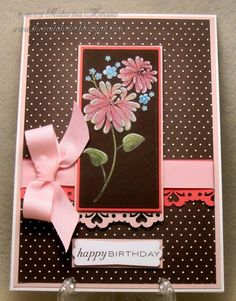 handmade birthday card: Chocolate Floral Fusion by KatarinaM .... black magic technique on dark brown ... luv pink and brown together ... great card!